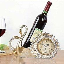 JKCKHA European Wine Rack Holder Clock Home Living