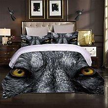 JKKIWK 3D Printed Duvet Cover Set Grey animal wolf