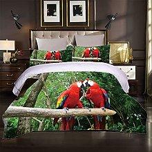 JKKIWK double Bedding 3D printed Red animal parrot