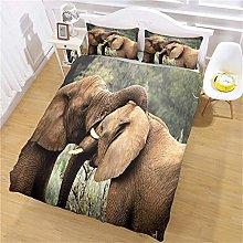 JKKIWK double Duvet Cover Wood animal elephant 3D