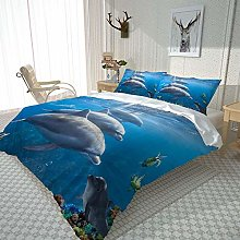 JKKIWK kingsize Bedding 3D printed Animal dolphin