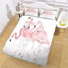 JKKIWK kingsize Bedding 3D printed Pink flamingo
