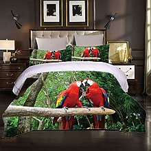 JKKIWK single Bedding 3D printed Red animal parrot
