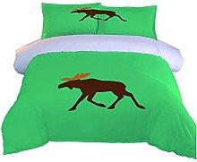 JKKIWK single Duvet Cover Forest animal deer 3D