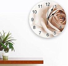 JKLMZYT 3D White Rose PVC Wall Clock Modern Design