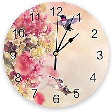 JKLMZYT Bird Flowers Animal Pink PVC Wall Clock