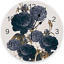 JKLMZYT Blue Flowers Wall Clock Home Decor Bedroom