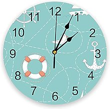 JKLMZYT Circular Wall Clock Anchor Lifebuoy