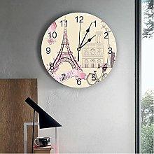 JKLMZYT French Paris Tower Printed PVC Wall Clock