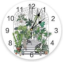 JKLMZYT Green Plants Wall Clock Home Decor Bedroom