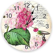 JKLMZYT Hummingbird with Hydrangea Wall Clock Home