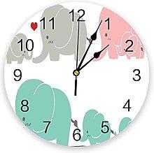 JKLMZYT Modern Wall Clock Animal Cute Elephant