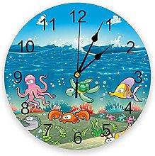 JKLMZYT Modern Wall Clock Marine Octopus Coral