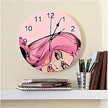 JKLMZYT Pink Lady Printed PVC Wall Clock Modern