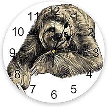 JKLMZYT Sloth AnimalWall Clock Home Decor Bedroom