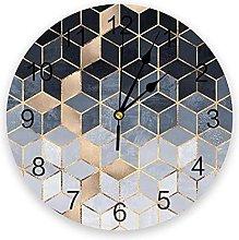 JKLMZYT Soft Blue Gradient Cubes Wall Clock Home