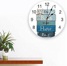 JKLMZYT Starfish Wood Beach PVC Wall Clock Modern