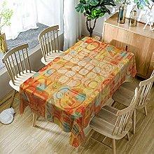 JKRFV Table Cover Orange letters Wipeable Linen