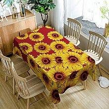 JKRFV Table Cover Yellow sunflower Wipeable Linen