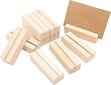 JKXWX 10 Pcs Business Card Holder Wood Memo Clips