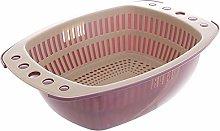 JKZX Drain Basket Kitchen Household Double Layer