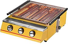 JLKDF BBQ Grill Yellow 3 Burner BBQ Gas Grill