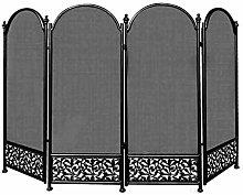 JLXJ Folding Fireplace Screens, 4 Panel Wrought