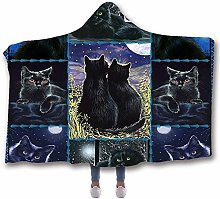 JNBGYAPS Hooded Throw Blanket Black cat under the