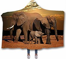 JNBGYAPS Hooded Throw Blanket Elephant family