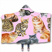 JNBGYAPS Printed Microfiber Hooded Blanket Animal