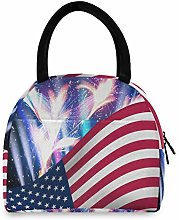 JNlover American Flag Firework Insulated Lunch Bag