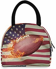 JNlover American Flag Football Insulated Lunch Bag