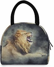 JNlover Angry Roaring Lion Insulated Lunch Bag