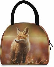 JNlover Animal Fox Forest Insulated Lunch Bag