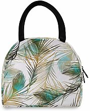 JNlover Animal Peacock Feather Insulated Lunch Bag