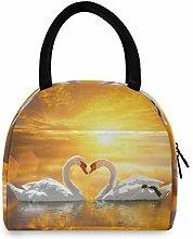 JNlover Animal Swan Valentine Insulated Lunch Bag