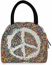 JNlover Colorful Peace Sign Insulated Lunch Bag