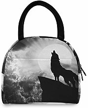 JNlover Cool Animal Wolf Moon Insulated Lunch Bag