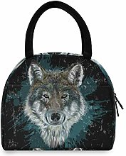 JNlover Cool Animal Wolf Print Insulated Lunch Bag