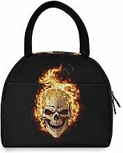 JNlover Cool Burning Skull Insulated Lunch Bag