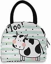 JNlover Cute Cartoon Cow Insulated Lunch Bag