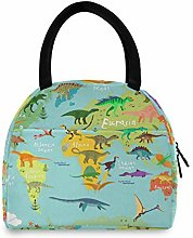 JNlover Dinosaur World Map Insulated Lunch Bag