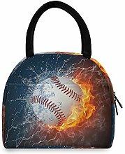 JNlover Fire Baseball Sport Insulated Lunch Bag