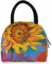 JNlover Flower Sunflower Painting Insulated Lunch