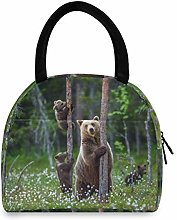 JNlover Forest Animal Bear Insulated Lunch Bag