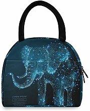 JNlover Galaxy Animal Elephant Insulated Lunch Bag