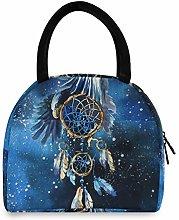 JNlover Galaxy Dream Catcher Insulated Lunch Bag