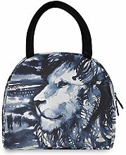 JNlover Painting Animal Lion Insulated Lunch Bag