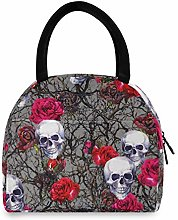 JNlover Sugar Skull Floral Insulated Lunch Bag