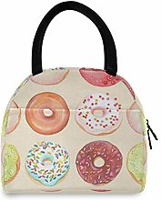 JNlover Sweet Donuts Pattern Insulated Lunch Bag